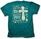 Kerusso Cherished Girl Christian PRAY ABOUT  IT Womens Cross T-Shirt BRAND NEW
