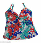 Swim Solutions Floral Twist Front Underwire Tankini Top Multi Color Pick Size