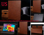 Luxury Genuine Real Leather Flip Case Wallet Cover For Samsung Galaxy Tab4/3/2