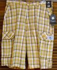 Victorious Mens 32, 34, 38 Gold Plaid Cargo Shorts Cotton Style CS44 NWT