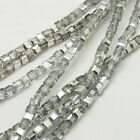 30 Electroplated 4mm Faceted Glass Cube Beads 12 Colours Available (BOX57)