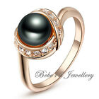 Pearl Ring/Charcoal grey/Black/Simulated Diamond/Rose Gold Plated/RGR065