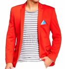 TR Premium Mens Slim Fit 1 Button Picstitch Notch Lapel Knitted Sport Jacket Red