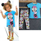 2015 Baby Kids Girls Minnie Tops+Cartoon Pants 2Pcs Outfits Set Clothes 2-7Y CA