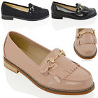 WOMENS FLAT LOAFERS CASUAL FRINGE BLACK LADIES BUCKLE WORK SCHOOL PUMPS SHOES