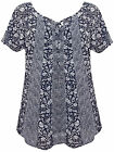 Ladies Evans Navy White Floral Paisley Top Summer Holiday Beach Blouse Camisole
