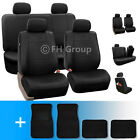 PU Leather Car Seat Covers w. Carpet Floor Mats for Split Bench