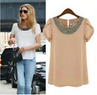 Womens Ladies Chiffon Short Sleeve T Shirt Casual Tops Shirts Beads Blouse
