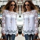 Fashion Ladies New Embroidery Lace Long Sleeve Top Blouse Shirt T-shirt Size8-28
