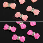 10pcs 3D Alloy Faux Pearls Rhinestone Bow Tie Beads Nail Art Glitters Decoration