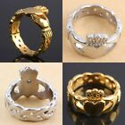 Stainless Steel Claddagh Hand Heart Crown LOVE Golden/Silver Finger Ring Jewelry