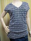 212 COLLECTION Mesh Shirred V-neck Blouse Short Sleeve Top Black White Size XS S
