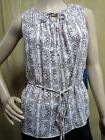 SIMPLY VERA WANG Smocked Tie Neck Belted Chiffon Sleeveless Blouse Petite PXS PS