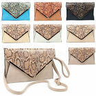 NEW SNAKESKIN PATENT WEDDING LADIES PARTY PROM EVENING CLUTCH HAND BAG PURSE