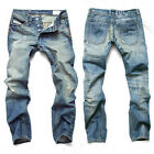 Top Designed Men's Straight Slim Jean Trousers Casual Washed Jeans Pants Bottoms