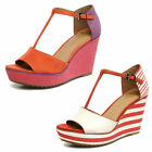 Clarks SALE Scent Flower Coral Suede Or Red Combi Wedge Sandals