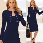 Elegant Women Lady Long Sleeve Tunic Work Cocktail Party Bodycon Pencil Dress