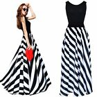 Sexy Women Black White Stripes Boho Long Maxi Cocktail Evening Party Beach Dress