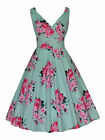 VINTAGE 50's MINT PINK BOUQUET COTTON  ROCKABILLY BRIDESMAID TEA DRESS NEW 8-20