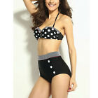 Sexy Women Lady Bandage High Waist Halterneck Black Bikini Swimwear Swimsuit