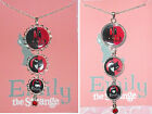 EMILY THE STRANGE Rhinestone Silver Pendant Necklace Gothic Goth Girl Cats Red