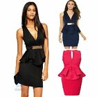 Sleeveless V Neck Peplum Elastic Bodycon Fit Formal Work Wear Casual Party Dress