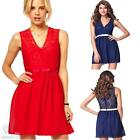 Sexy Sleeveless V Neck Lace Ribbon Mini Skater Dress Summer Casual Party Dress