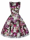 Elegant 1950's Vintage Style Ivory Pink Floral Bridesmaid Tea Dress New 8 - 26