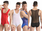 New Men's Mesh Sexy body shaper Jumpsuits one-piece Gym Suit Underwear t-shirt