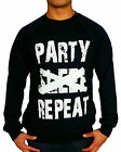 NEW MENS BLACK JUMPER CREW NECK SWEAT PARTY SLEEP REPEAT SWAG DISCO 90'S FUNNY