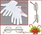 Santa Accessories White Gloves Silver Gold Rectangular Round Glasses Fancy Dress