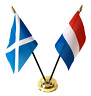 More images of Scotland & Netherlands Double Friendship Table Flags & Badge Set