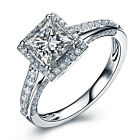Princess Shape Brilliant Moissanit Engagement Ring 14k White Gold Diamond Ring