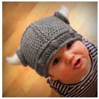 Adult Parent Kids Baby Knitted Wool Yarn Crochet Beanie Viking Horn Hat Cap Z