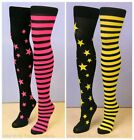 Leg Avenue Retro Stars Stripes Thigh High Stockings Neon Pink Yellow Fancy Dress