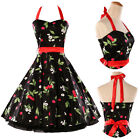 Halter 50's Vintage Pinup Swing Evening Housewife Cotton Party Dress