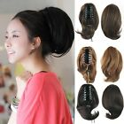 Lady Black/Brown Claw Clip In Hair Piece Extension Short Wavy Curly Ponytail