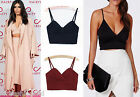New Ladies Celeb Sexy Straps Deep Cut Crop Top Sleeveles Vest Flirty Casual Tops