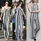 Celeb Kendall Jenner Womens Strips Balloon Backless Jumpsuit Monochrome Trousers