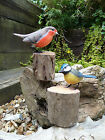 Fair Trade Hand Carved Made Wooden Blue Tit Robin Garden Bird Ornament Sculpture