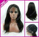 GLUELESS Lace Front Wig #0.12 Hard Lace Weft Back 100% Human Hair Yaki Straight