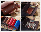 Double Button Women Men Genuine Leather Key Bag Key holder chain Car Keyring