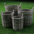 Log Toy Storage Basket Grey Rattan Round Base