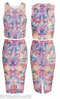 New Ladies Crop Sleeveless Top Pencil Midi Skirt Floral Print Set Ribbed Design