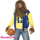 Licensed Mens Teen Wolf 80s Costume 1980s Movie Halloween Werewolf Fancy Dress