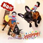 Cowboy Dog Riders Costume Pet Clothes Harness Dress Up Halloween with Bull Hat
