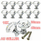 10PCS 30mm 40mm Clear Crystal Glass Door Knobs knob Drawer Handle Cabinet +Screw