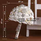 New Multi-Colors Satin Rose Crystals Flower Bouquet Wedding Decorations Handmade