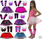 GIRLS  NEON TUTU SKIRT SET 80'S FANCY DRESS