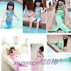 3PCS Girls Little Mermaid Tail Swimmable Swimming Costume Swimsuit Bikini 3-10Y